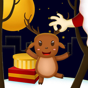 原创被圣诞老人抓着角的圣诞卡通插画