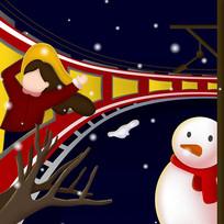 原创冬季火车旅行卡通插画