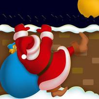 原创爬墙的圣诞老人卡通插画