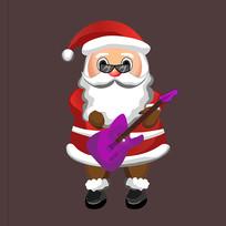 原创手绘圣诞老人弹吉他