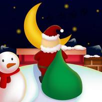 原创拖着包裹送礼物的圣诞老人卡通插画