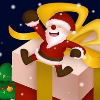 原创坐在礼物盒子上的圣诞老人卡通插画