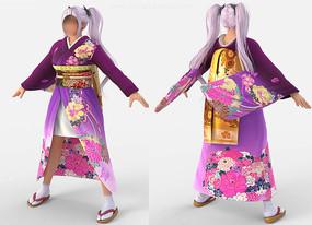 fbx obj模型和服少女-蒙皮