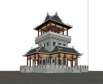 古建筑中式塔楼楼宇设计图 skp