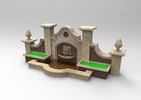 sketch喷泉景观三维模型 skp