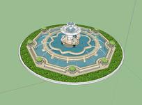 天鹅喷泉园林景观建筑设计 skp