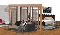 新中式卧室套间设计