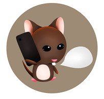 原創手繪可愛卡通打電話老鼠