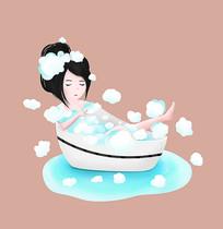 原創手繪可愛卡通美女洗澡泡泡