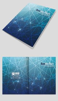 蓝色个性线条科技画册封面设计 PSD