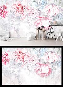 现代简约手绘水彩玫瑰花背景墙