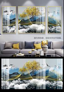 新中式现代轻奢抽象水墨山水麋鹿三联装饰画
