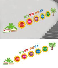 学校楼梯宣传标语文化墙设计