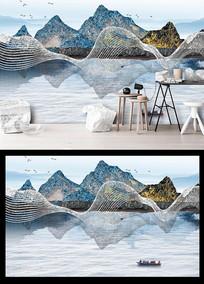 中国风大气山水风景金色山水背景墙