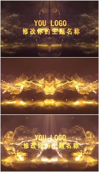PR金色粒碰撞子LOGO演绎片头视频模板