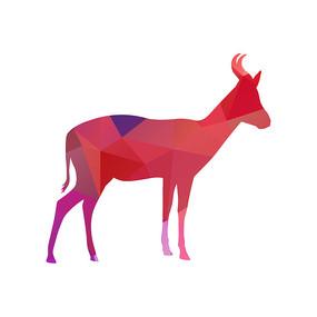 多边形色块动物剪影长颈鹿