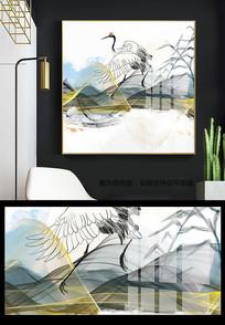 新中式金色国潮风仙鹤玄关晶瓷装饰画