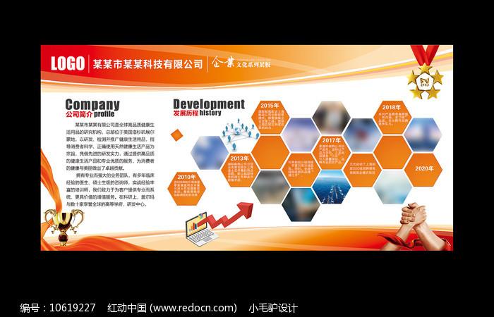 橙色企业文化墙展板图片