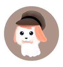 可爱卡通叼骨头带帽子萌小狗