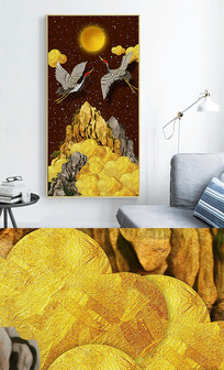 新中式现代轻奢艺术抽象金山玄关晶瓷画