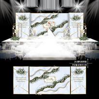 白蓝色主题婚礼效果图设计婚庆舞台背景