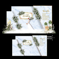 白蓝色主题婚礼效果图设计婚庆迎宾区背景