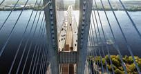 吊桥交通车辆行驶鸟瞰视频素材 mp4
