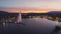 都市傍晚灯光航拍鸟瞰视频素材 mp4