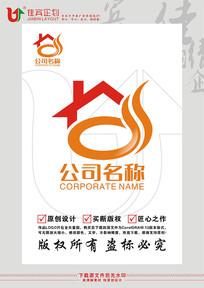 房子餐饮美食LOGO标志设计 CDR