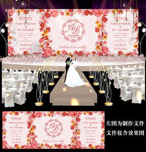 红色花卉婚礼舞台背景板设计