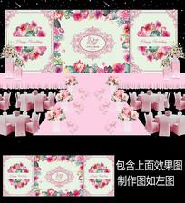 浪漫水彩花卉婚礼舞台背景设计 PSD