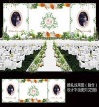 绿色田园风婚礼舞台背景板设计 PSD