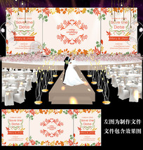 秋季主题婚礼舞台背景板 PSD