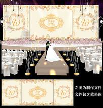 香槟金婚礼舞台背景板设计 PSD
