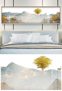 新中抽象金色水墨山水床头装饰画