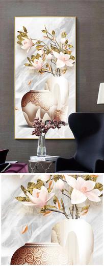 新中式鸿运当头珐琅彩花瓶餐厅装饰画