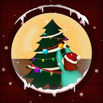 原创窗户里的圣诞插画
