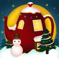 原创圣诞茶壶房子卡通插画