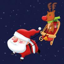 原创圣诞老人拉雪橇
