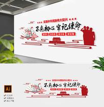 原创通用红色中国风党建不忘初心文化墙