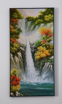 超高画质溪水瀑布风景油画艺术玄关 TIF