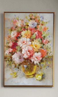 超高清纯手绘画质静物花卉艺术油画玄关 TIF