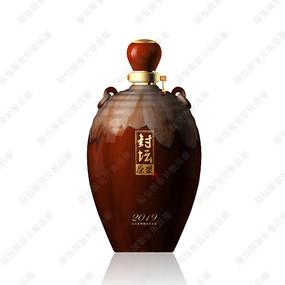 封坛原浆酒咖啡色陶瓷酒瓶效果图