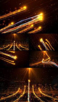 金色震撼大气粒子光线年会开场视频素材