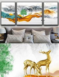 现代简约轻奢抽象飘带麋鹿金色线条晶瓷画 PSD