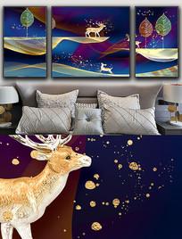 现代简约轻奢麋鹿金色线条晶瓷画 PSD