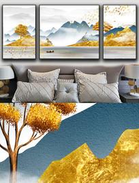 现代简约轻奢山水抽象麋鹿金色晶瓷画 PSD