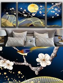 现代简约轻奢艺术抽象工笔花鸟线条晶瓷画 PSD
