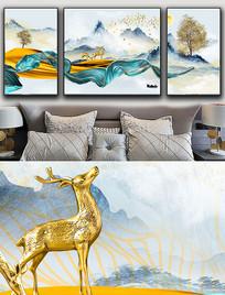 现代简约轻奢艺术抽象飘带麋鹿晶瓷画 PSD