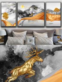 现代简约轻奢艺术抽象飘带麋鹿金色晶瓷画 PSD